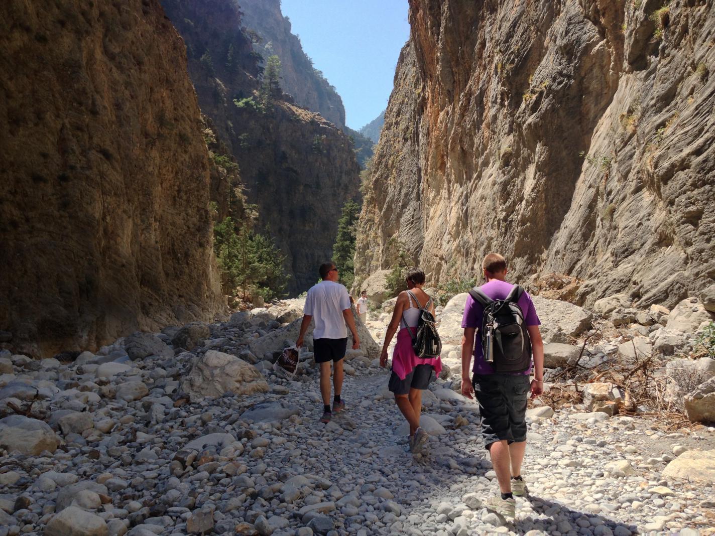 Tourists walking in Samarias gorge