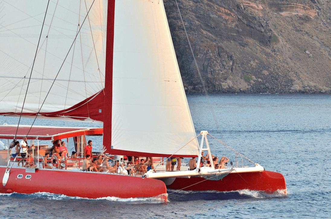 family sailing day tour Santorini kids love greece barbeque on board Ammoudi