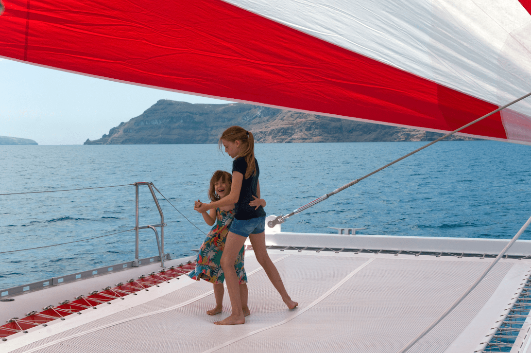 Kids love greece Santorini Ammoudi family sailing day tour barbeque on board