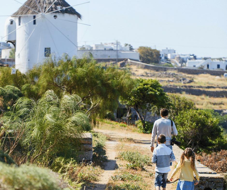 hiking family mykonos