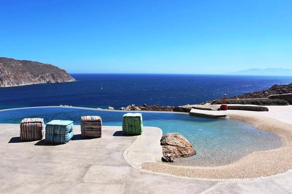 accommodation for families luxury stone family villa in Mykonos island the rocky retreat residence cyclades kids love greece