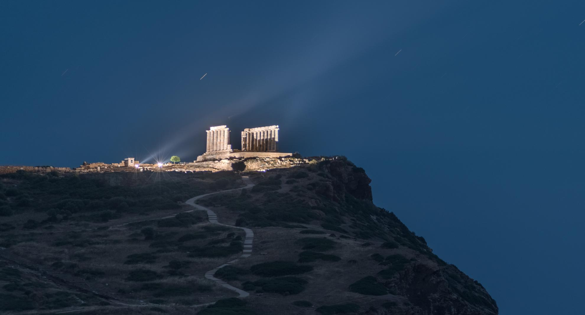 Sounio temple of Poseidon night stargazing